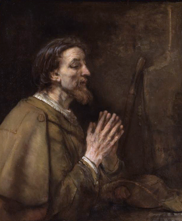 This portrait of St James the Great was painted by Rembrandt in 1661